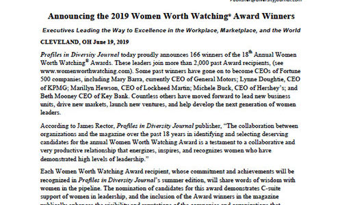 Announcing the 2019 Women Worth Watching<sup>®</sup> Award Winners