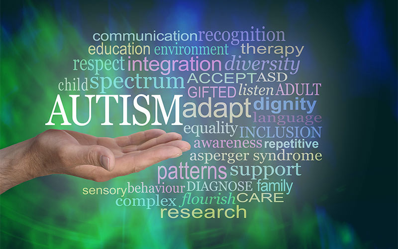male hand with open palm up with the word AUTISM floating above surrounded by a relevant word cloud on a modern abstract green black background